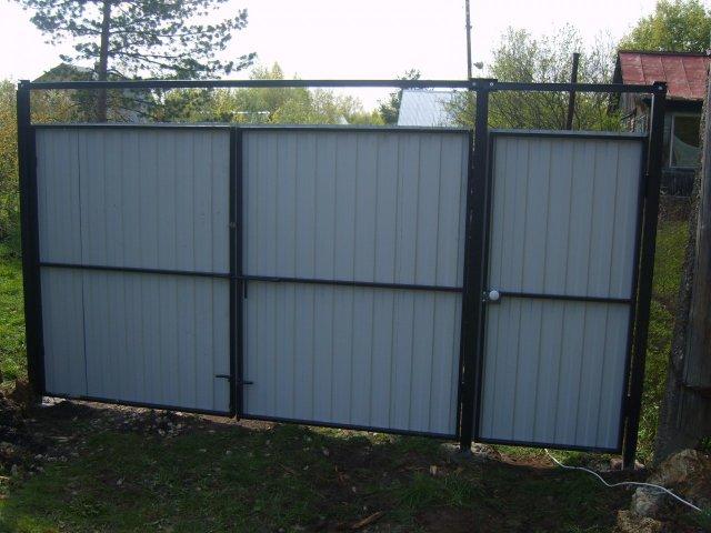 Конструкция откатных ворот из профнастила