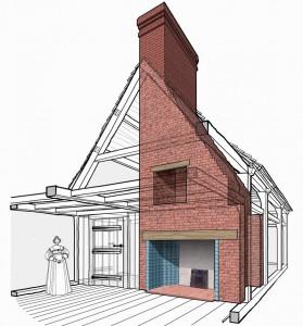 Схематическая привязка дымохода камина к крыше дома