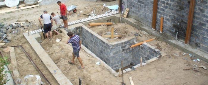 Ленточный фундамент для кирпичного гаража со смотровой ямой
