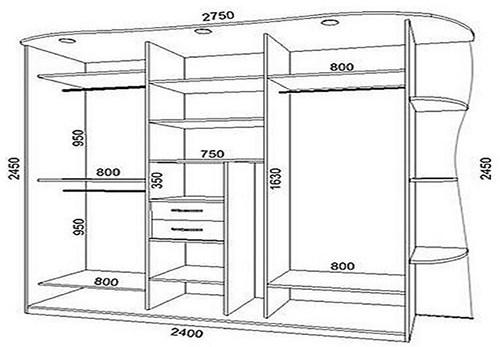 Проект шкафа-купе с размерами полок и боковин