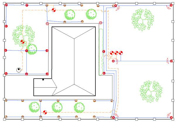 Примерный план участка со строениями и коммуникациями