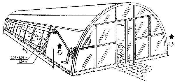 Вариант устройства вентиляции арочной теплицы