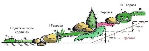 Вертикальный разрез альпийской горки