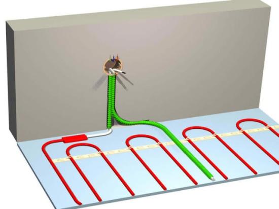 Схема  тёплого пола с термостатом