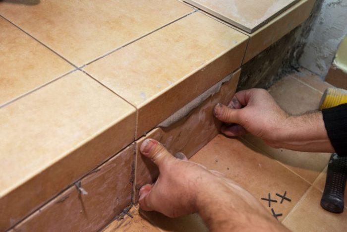 Облицовка бетонной лестницы керамической плиткой