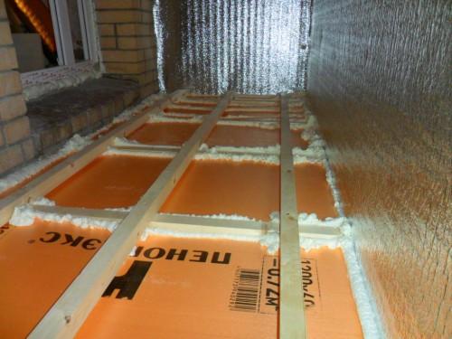 Монтаж утеплителя на полу балкона