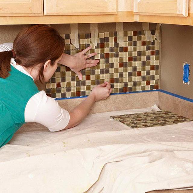 Отделка фартука на кухне своими руками