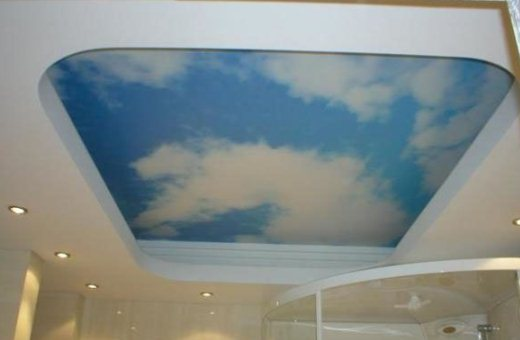 Потолок ванной из гипсокартона с натяжным полотном