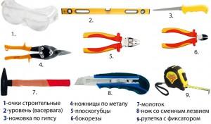 инструменты для монтажа камина из гипсокартона