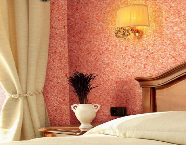 декорирование стен спальни жидкими обоями