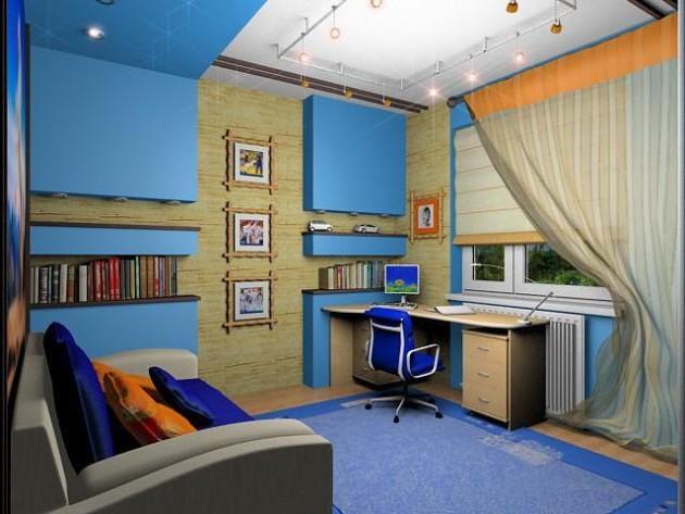 дизайн комнаты мальчика в голубых тонах