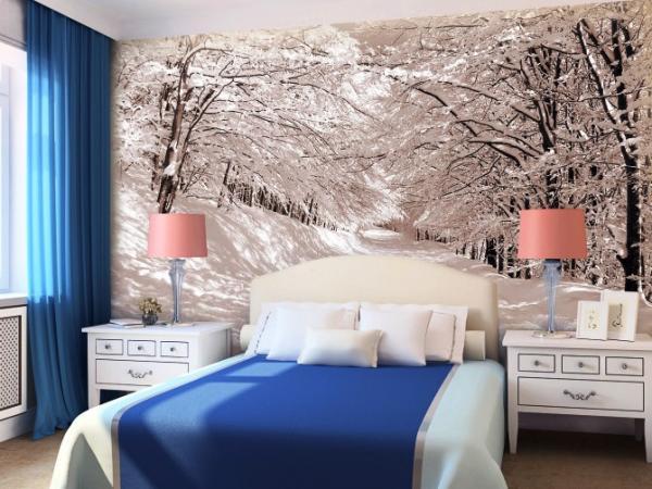 маленькая спальня, декорированная фотообоями