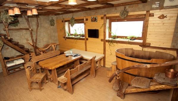 оригинальный дизайн комнаты отдыха в бане