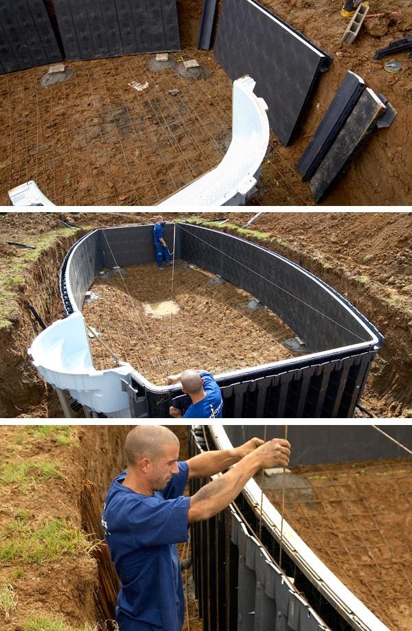 строительство уличного банного бассейна