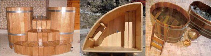 варианты деревянных купелей для бани