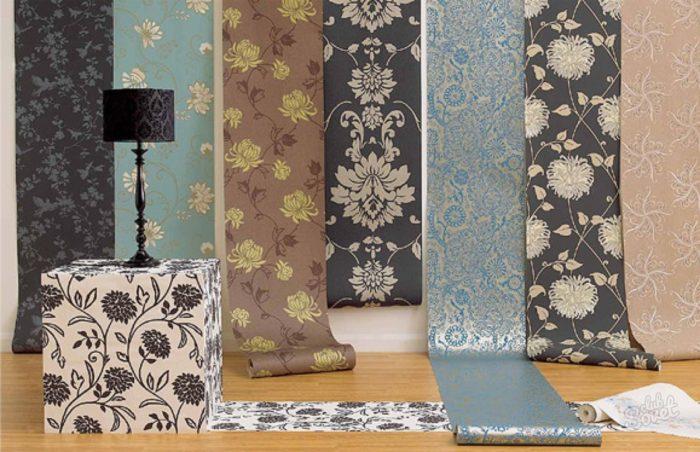 Текстильные обои с разными рисунками