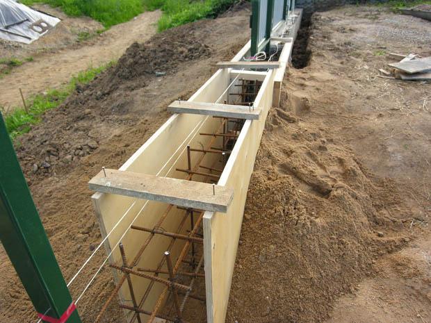 Траншея под фундамент с установленной опалубкой и каркасом