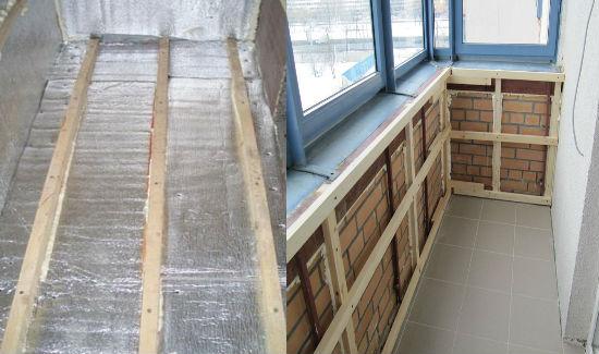 подготовительные работы перед внутренней обшивкой балкона