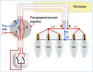принцип подключения двухконтурной люстры к электросети