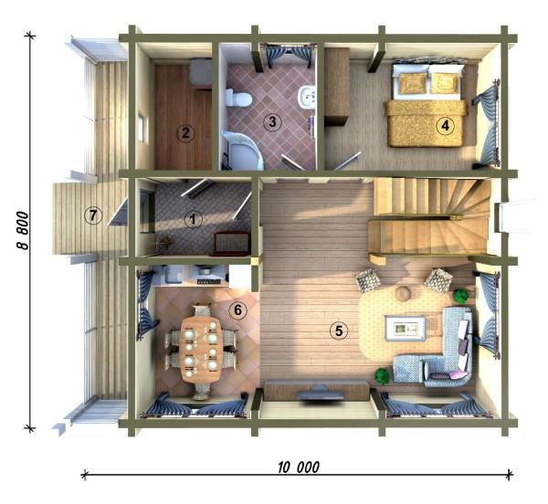 Проект двухэтажного пеноблочного дома. Вид изнутри