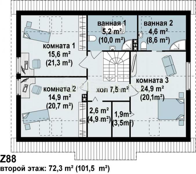 проект первого этажа дома из пеноблоков