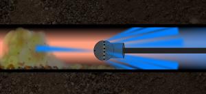 процесс гидродинамической прочистки канализации